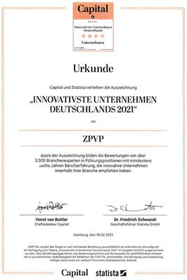 """Urkunde """"Innovativste Unternehmen Deutschlands 2021"""""""